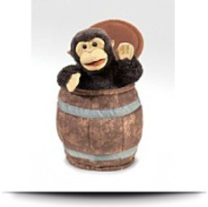 Monkey In Barrel Hand Puppet